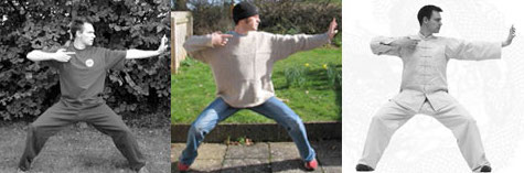 Photo of Marcus Santer performing a Qigong Form, three different times